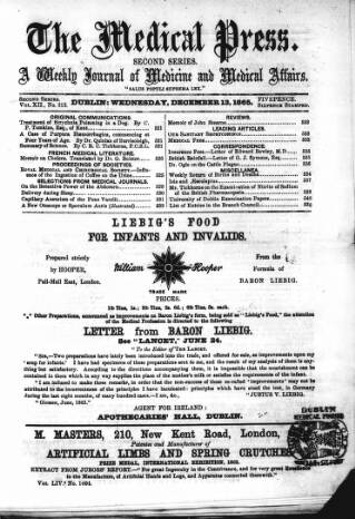 cover page of Dublin Medical Press published on December 13, 1865