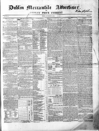 cover page of Dublin Mercantile Advertiser, and Weekly Price Current published on November 24, 1854