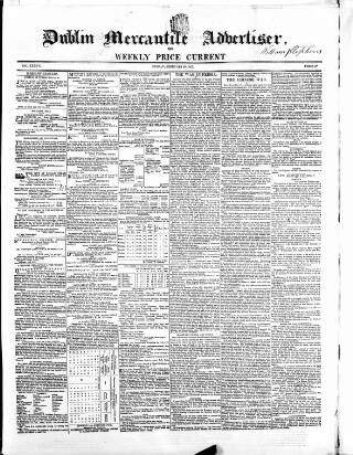 cover page of Dublin Mercantile Advertiser, and Weekly Price Current published on February 20, 1857