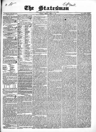 cover page of Statesman and Dublin Christian Record published on April 18, 1845