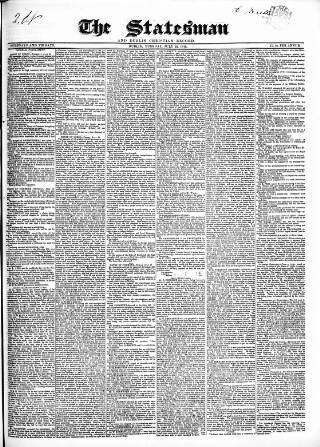 cover page of Statesman and Dublin Christian Record published on July 22, 1845