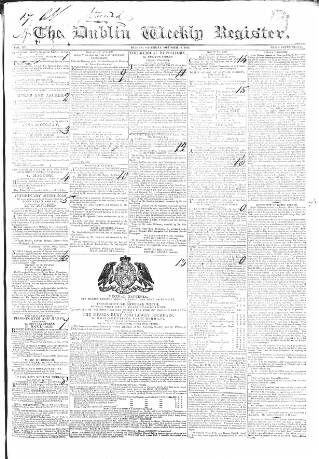 cover page of Dublin Weekly Register published on October 19, 1833