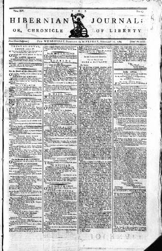 cover page of Hibernian Journal; or, Chronicle of Liberty published on February 25, 1784