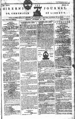 cover page of Hibernian Journal; or, Chronicle of Liberty published on November 24, 1806