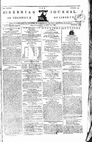 cover page of Hibernian Journal; or, Chronicle of Liberty published on June 24, 1807
