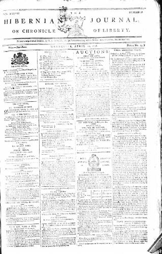 cover page of Hibernian Journal; or, Chronicle of Liberty published on April 20, 1808