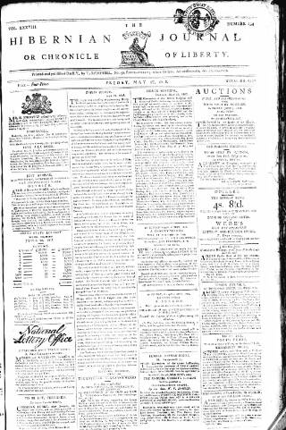 cover page of Hibernian Journal; or, Chronicle of Liberty published on May 27, 1808
