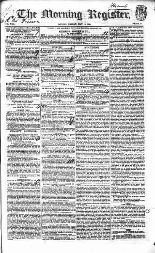 cover page of Dublin Morning Register published on May 18, 1832