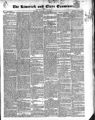 cover page of Limerick and Clare Examiner published on June 3, 1848