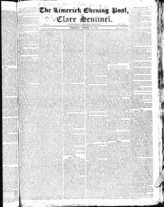 cover page of Limerick Evening Post published on April 18, 1828