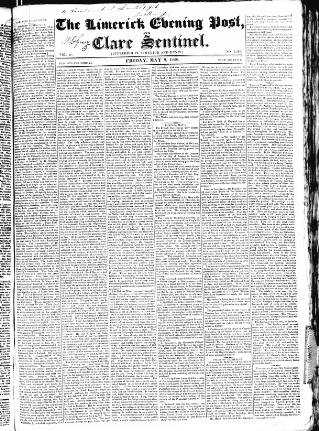 cover page of Limerick Evening Post published on May 9, 1828