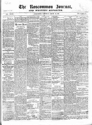 cover page of Roscommon Journal, and Western Impartial Reporter published on March 22, 1862