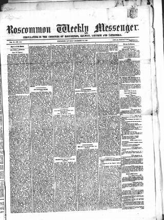 cover page of Roscommon Messenger published on December 15, 1860