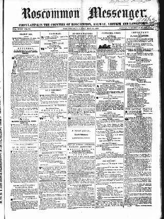 cover page of Roscommon Messenger published on May 19, 1866