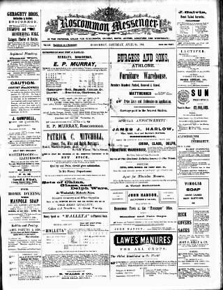 cover page of Roscommon Messenger published on April 23, 1904