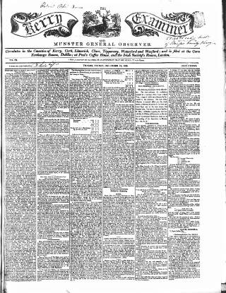 cover page of Kerry Examiner and Munster General Observer published on December 18, 1846