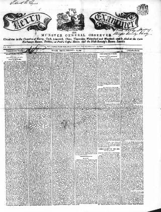 cover page of Kerry Examiner and Munster General Observer published on February 18, 1848
