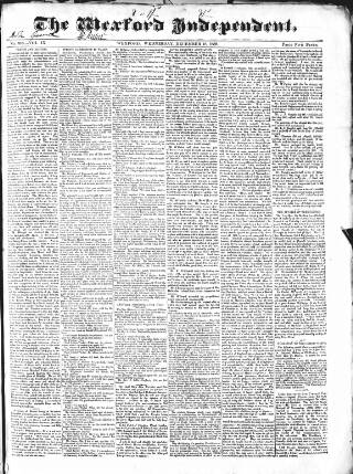 cover page of Wexford Independent published on December 18, 1839