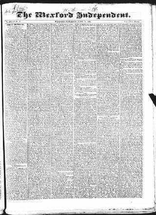 cover page of Wexford Independent published on April 18, 1840