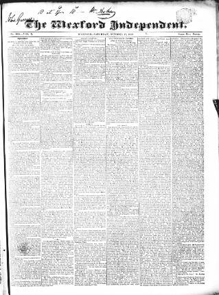 cover page of Wexford Independent published on October 17, 1840