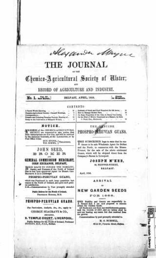 cover page of Journal of the Chemico-Agricultural Society of Ulster and Record of Agriculture and Industry published on April 5, 1858