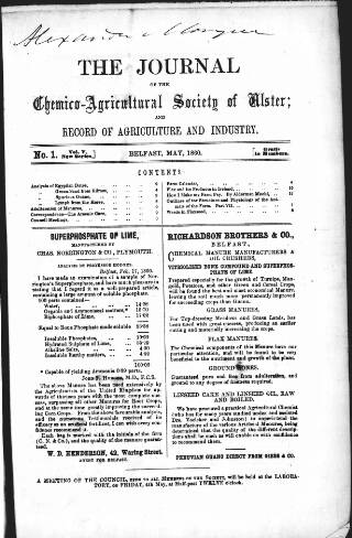 cover page of Journal of the Chemico-Agricultural Society of Ulster and Record of Agriculture and Industry published on May 7, 1860