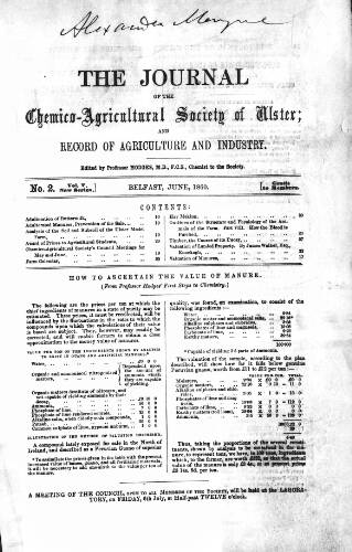 cover page of Journal of the Chemico-Agricultural Society of Ulster and Record of Agriculture and Industry published on June 4, 1860