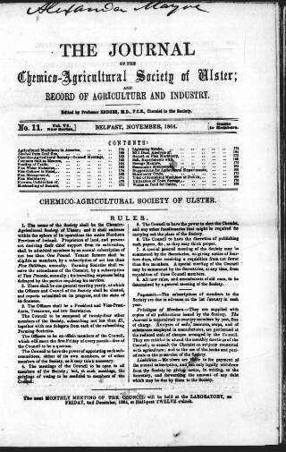 cover page of Journal of the Chemico-Agricultural Society of Ulster and Record of Agriculture and Industry published on November 7, 1864