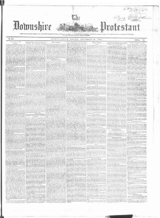 cover page of Downshire Protestant published on November 21, 1856