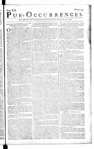 cover page of Pue's Occurrences published on December 11, 1756