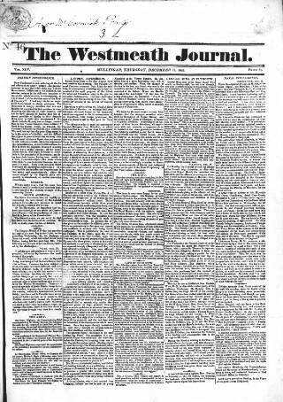 cover page of Westmeath Journal published on December 18, 1823