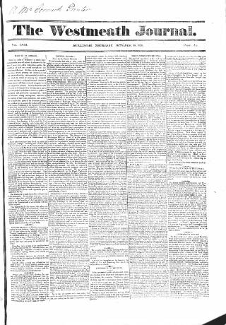 cover page of Westmeath Journal published on October 19, 1826