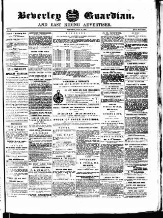 cover page of Beverley Guardian published on May 16, 1857
