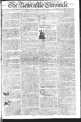 cover page of Newcastle Chronicle published on February 21, 1778