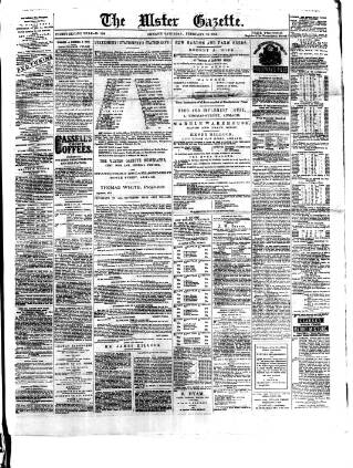 cover page of Ulster Gazette published on February 19, 1876