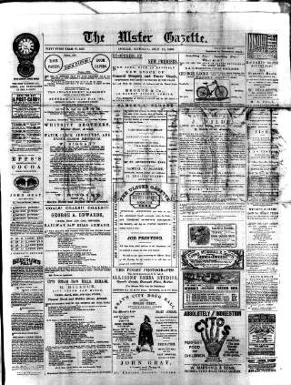 cover page of Ulster Gazette published on July 13, 1895