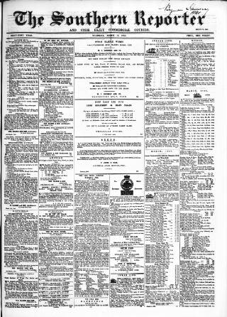 cover page of Southern Reporter and Cork Commercial Courier published on March 19, 1868