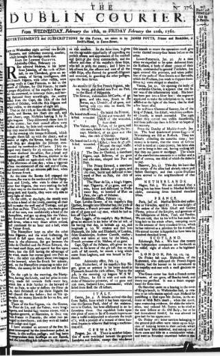 cover page of Dublin Courier published on February 20, 1761