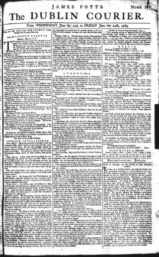 cover page of Dublin Courier published on June 22, 1763