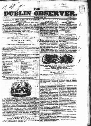 cover page of Dublin Observer published on July 20, 1833