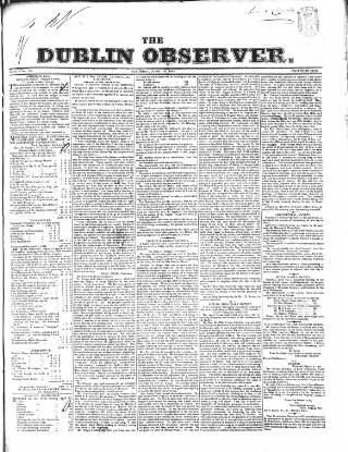cover page of Dublin Observer published on April 19, 1834