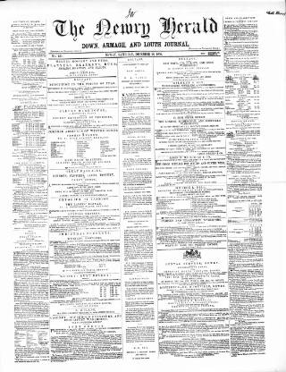 cover page of Newry Herald and Down, Armagh, and Louth Journal published on December 18, 1858