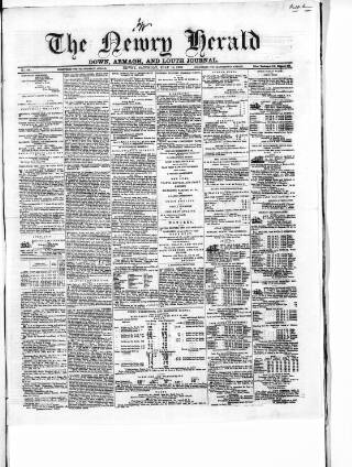 cover page of Newry Herald and Down, Armagh, and Louth Journal published on July 16, 1859