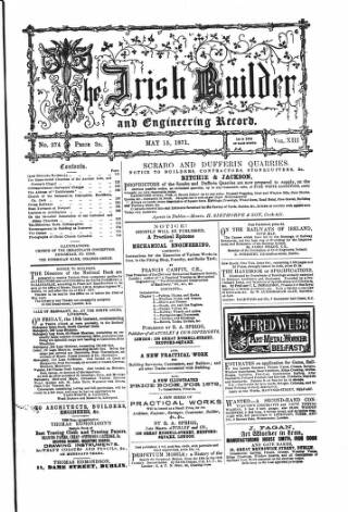 cover page of The Dublin Builder published on May 15, 1871