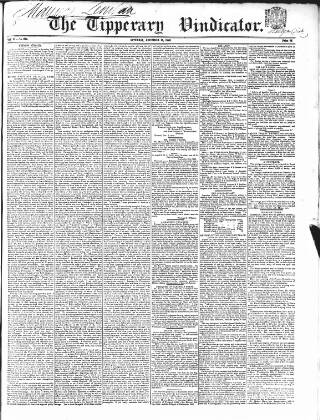 cover page of Tipperary Vindicator published on December 15, 1849