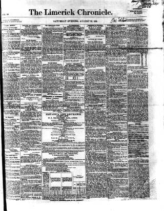 cover page of Limerick Chronicle published on August 23, 1856