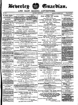 cover page of Beverley Guardian published on June 23, 1877