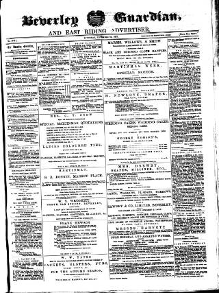 cover page of Beverley Guardian published on November 24, 1877