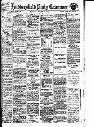 cover page of Huddersfield Daily Examiner published on March 27, 1917