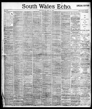 cover page of South Wales Echo published on July 17, 1895